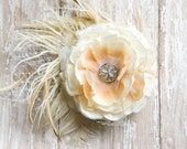 Bridal Hair Piece Fascinator - Beautiful Vintage Style with feathers, netting and antique brooch - Ivory available also