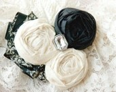 Vintage Wedding Garter Set in Black and White ( choose your accent colors) Vintage Style Brooch, pearls, and lace accents