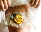 Vintage Wedding Bridal Garter Set in Mustard Yellow and Gray Vintage Garter Set (includes toss)