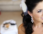 Bridal Fascinator Ivory Wedding Clip, Ivory Bridal Head Piece with Organza Lace Petals....Vintage Style Wedding