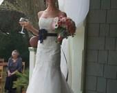 Bridal Sash -Couture Vintage Wedding Sash Belt in Navy Blue Gray Flower Belt Maternity Photo Sash Wedding Belt , Bridesmaids sash ANY COLORS
