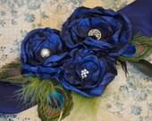 Navy Blue Peacock Wedding Bridal Sash Belt- Wedding Dress Belt in Navy Blue, Bridesmaids Sash, Navy Blue Wedding Sash