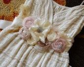 Vintage Inspired Wedding Dress SASH Wedding Belt Dusty Pink Wedding Vintage Wedding Dress Sash, Pink Champagne Ivory Wedding Dress Sash
