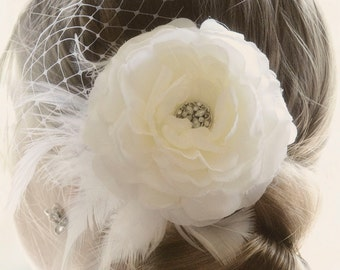 Vintage Wedding Hair Flower Ivory wedding hair flower vintage wedding hair piece bridal hair flower veil