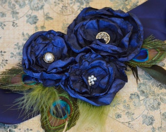 Navy Blue Peacock Wedding Bridal Sash Belt- Wedding Dress Belt in Navy Blue, Bridesmaids Sash, Navy Blue Wedding Sash