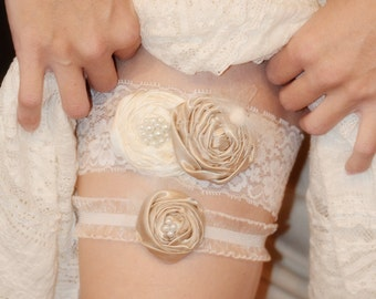 Romantic Ivory Lace Wedding Garter set - customize your garter in any colors - ships as soon as you need it