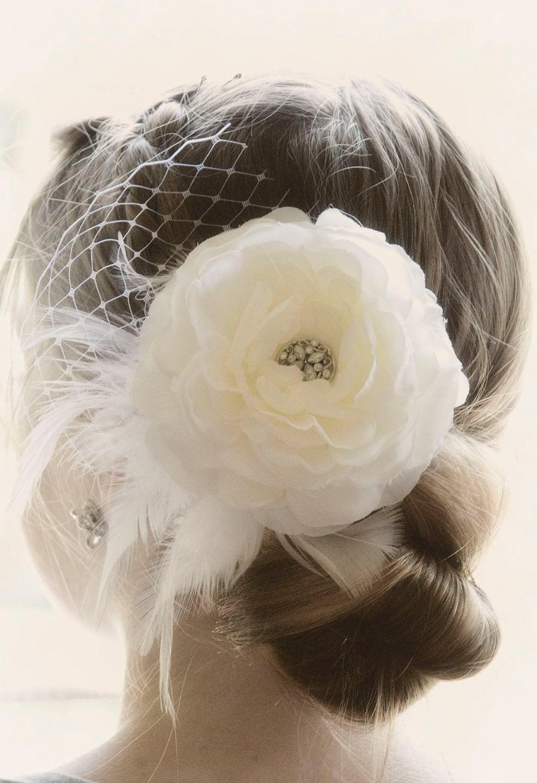 Ivory Bridal Hair Piece Wedding Hair Flower Fascinator Ivory