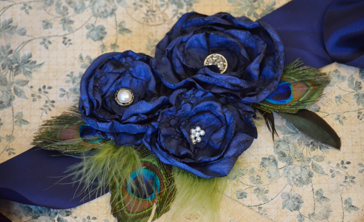 Navy blue peacock wedding bridal sash belt by krumpetsdesigns for Peacock wedding dress sash
