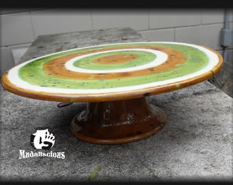 Cake Plate Pedestal Glazed in Padoga Green and Oasis