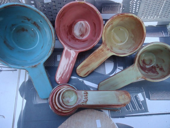 Set of 4 Porcelain Measuring Cups and Matching Spoons