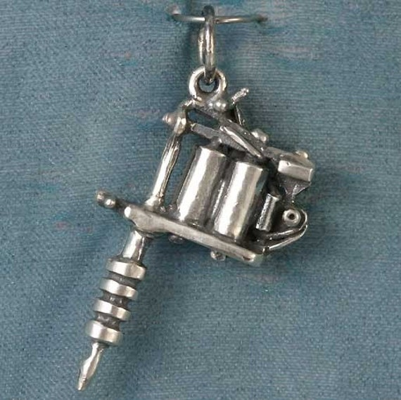 Small Tattoo Gun Sterling Silver Pendant By Dragonstreasure