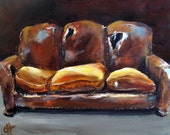Couch Painting Worn - Original Painting - 8x10 on gallery wrapped canvas