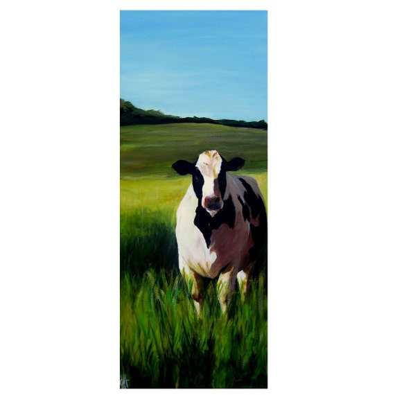 Cow in Tall Grass- Original Painting - 12x30 on stretched canvas - CLICK TO SEE FULL IMAGE