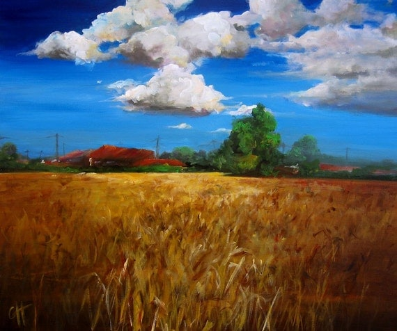 Reserved - The Farm - Original Painting - 20x24 on wrapped canvas