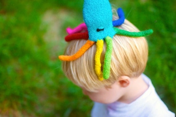 Rainbow Octopus Wool Felt Toy, Tub Toy, Puppet--You Pick Color
