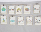Nature Themed Number Cards in English, counting wall cards, gender neutral, woodland theme. nursery decor, kids decor, k