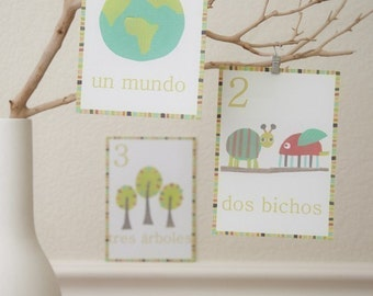 Spanish Numbers, Childrens Wall Cards, Counting, Nursery Wall Art, Kid's Decor, Gender Neutral Nursery, Nature Themed
