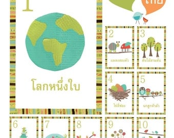 Thai Number Wall Cards