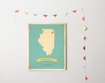 BUY 2 GET 1 FREE   Illinois Roots Map 11x14 Customized Print