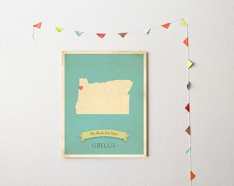 BUY 2 GET 1 FREE Oregon Roots Map 11x14 Customized Print