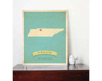 BUY 2 GET 1 FREE  Tennessee Roots Map 11x14 Customized Print