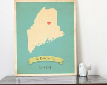 BUY 2 GET 1 FREE   Maine Roots Map 11x14 Customized Print