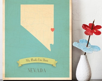BUY 2 GET 1 FREE  Nevada Roots Map 11x14 Customized Print