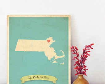 Massachusetts Roots Map 11x14 Customized Print