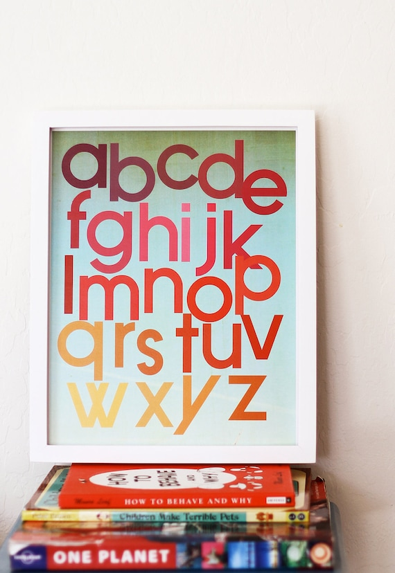 Mod Berry Alphabet Poster, 11x14, Gender Neutral, ABC Vintage Wall Art, Nursery, Room Decor