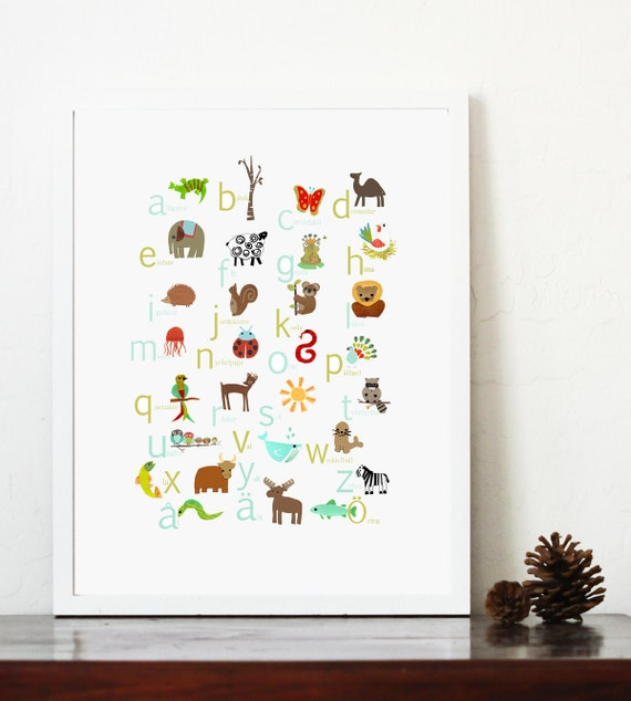 Alphabet Wall Decor Nursery : Swedish alphabet print nursery wall art by