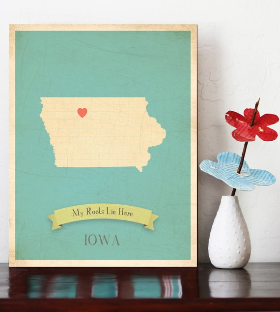 Personalized Vintage Map Wall Art 11x14- Choose Your State - IOWA