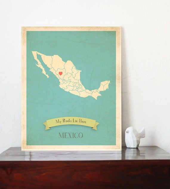 My Roots Personalized Vintage Map Wall Art 11x14- Customized Map Art Choose Your Country - MEXICO
