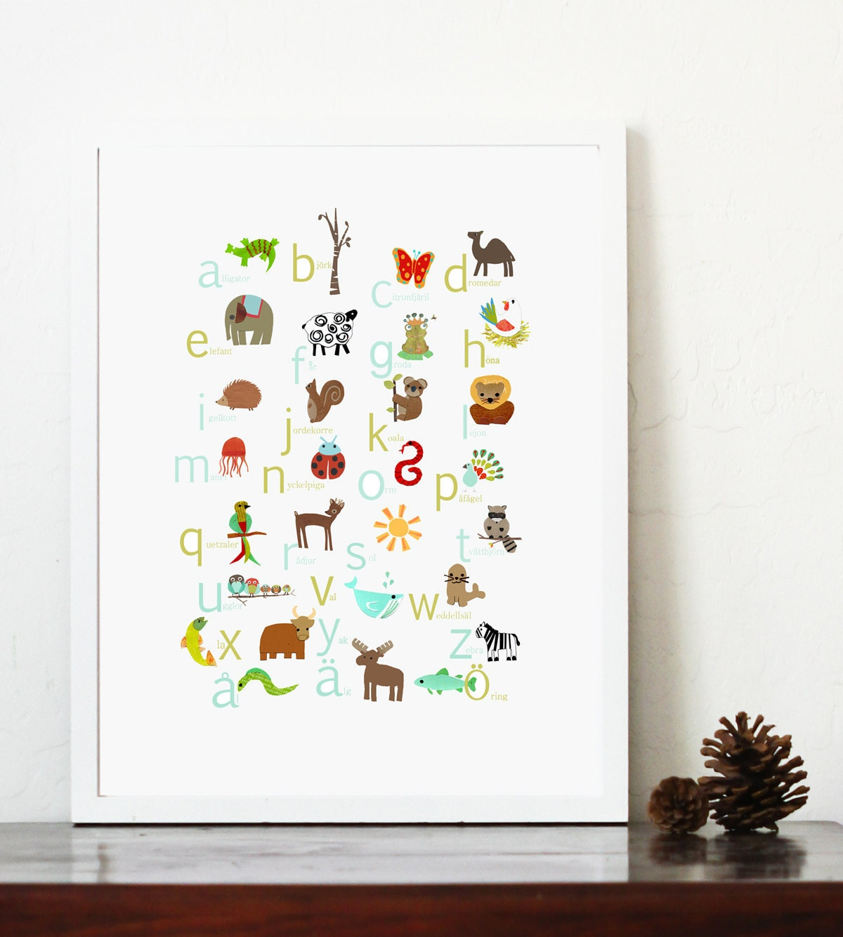 Swedish alphabet print 11x14 nursery wall art by for Alphabet wall decoration
