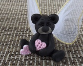 OOAK Hand Sculpted Black Angel Bear w/ Hearts and Wings