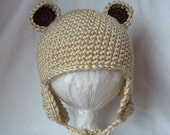 Crochet Teddy Bear Hat with Earflaps for 3-6 months