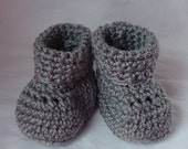 50% OFF SALE Crochet Baby Booties for Newborn in Heather Gray