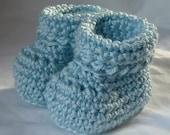 Crochet Booties for Newborn Baby in Light Blue