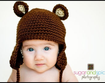 Crochet Teddy Bear Hat with Earflaps 6-12 months