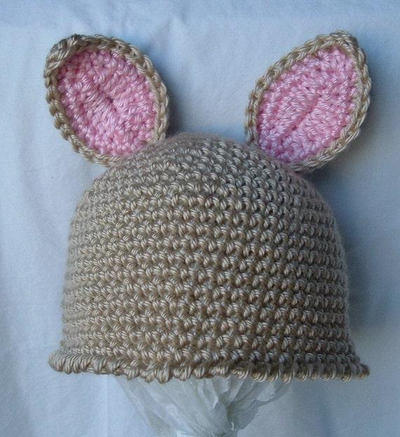Crochet Bunny Hat Cap Newborn Baby to 3 months in Cream Tan