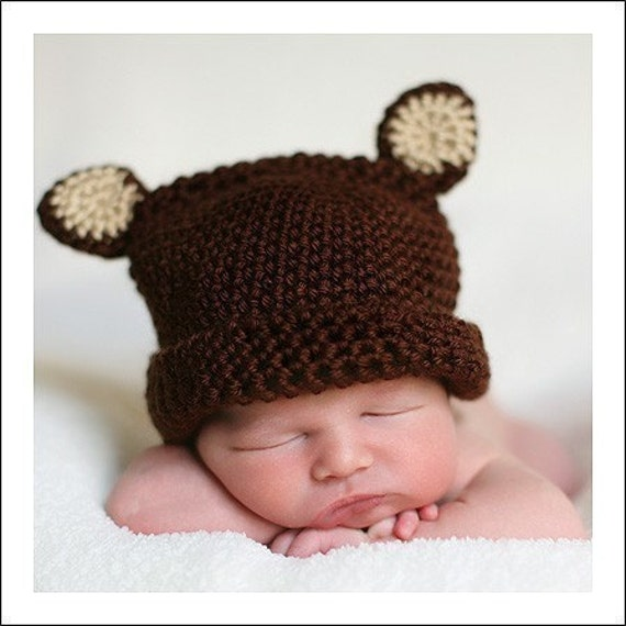 Crochet Teddy Bear Hat for Newborn to 3 months Baby