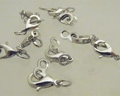 Brass Lobster Claw Clasp Sets -  Platinum Color 7mm x 22mm x 3mm thick (10 pcs)
