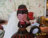Vintage Clay Wine Decanter Figurine Wine Butler