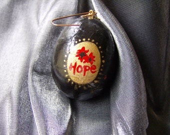 Hand Painted Paper Mache' Egg Christmas Ornament