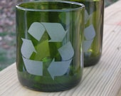 2 Recycled Wine bottle Glasses with etched Recycle Symbol