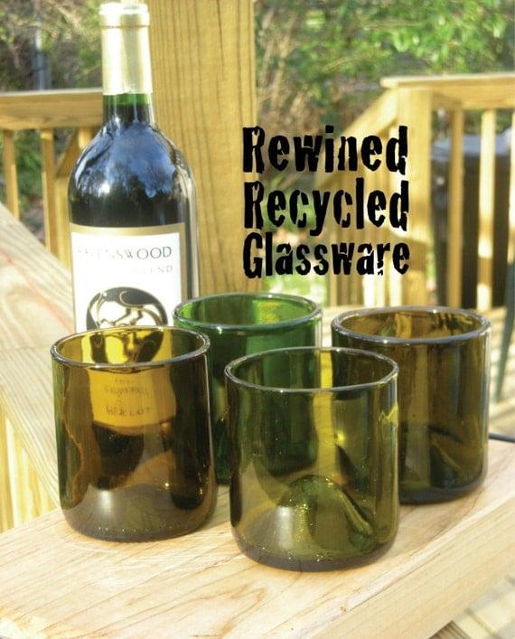 4 Recycled wine bottle glasses (mixed set)