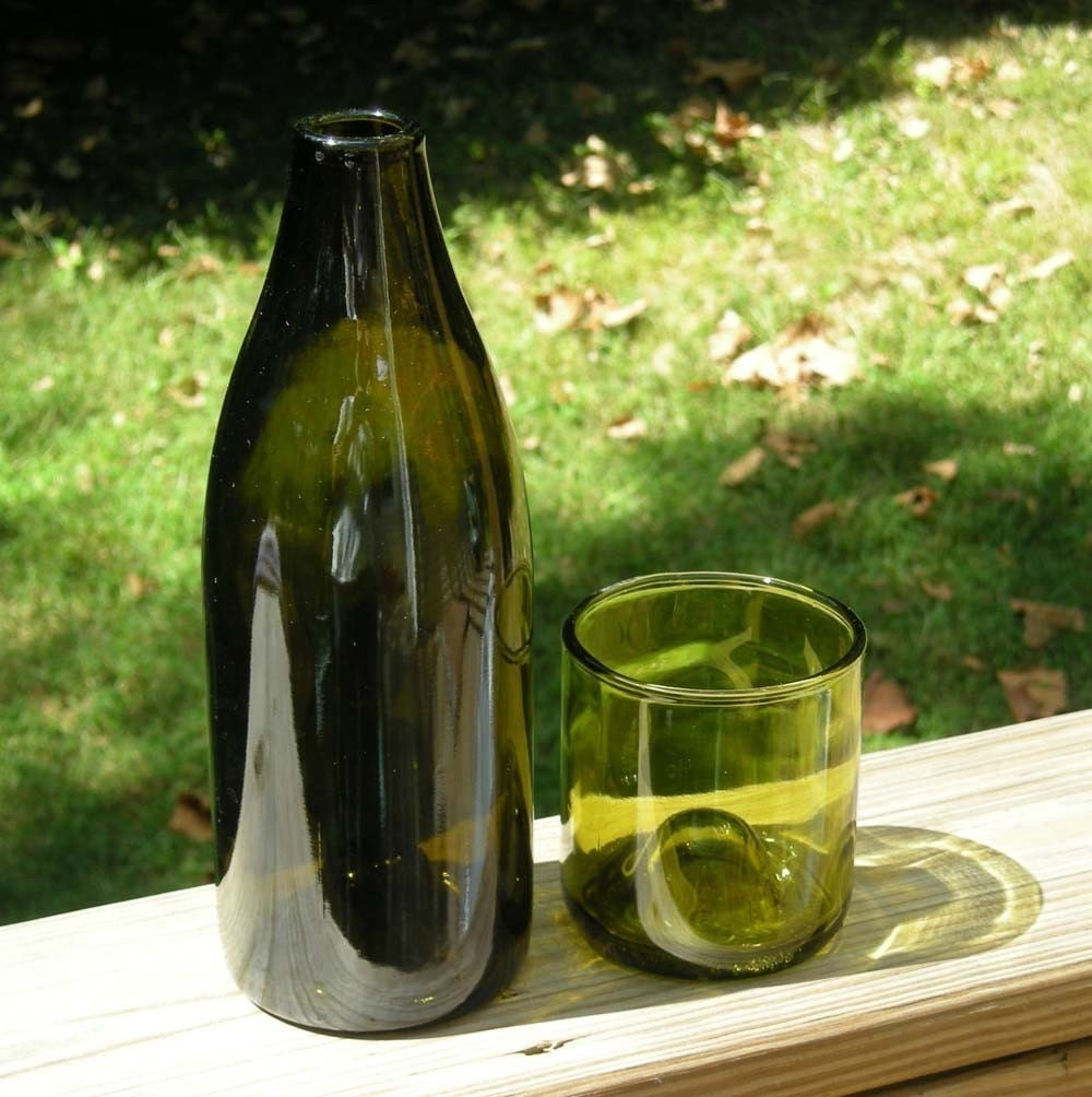 Carafe Set made from recycled wine bottles-2 piece by ...