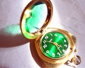 RESERVED Vintage Pocket Watch - Vintage Emerald Green With White Numbers - 21 Ruby Jewels -- Russian Jewelry - Runs