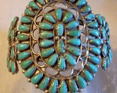 SALE Navajo Zuni Turquoise Bracelet - BIG- Very Old Pawn Sterling And  Turquoise - 7.5 Native American Handmade