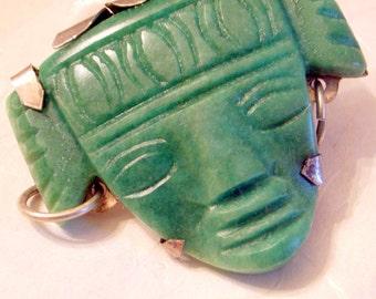 Aztec Head Brooch - BIG Mexican Vintage Sterling Brooch Pin - Carved Designer Tribal Green Jade With Hoop Earring Detail - Sterling Backed
