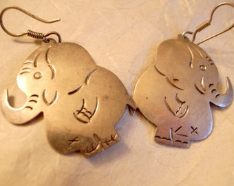 Vintage Taxco Elephant Earrings - Sterling Silver - Adorable Big Bashful Elephant Earrings - SALE Taxco  Silver